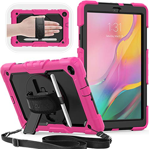 Galaxy Tab A 10.1 inch 2019 Case,T510/T515, SEYMAC Shockproof Case with Rotating Stand,Hand Strap[Pen Holder/Adjustable Shoulder Strap]for Samsung Tab A 10.1 SM-T510/SM-T515 2019 Release (Pink/Black)