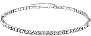 Clear Crystal Choker Necklaces Rhinestone Crystal Cup Chain Necklace for Girls Women