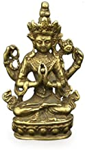 ZGPTX Antique Copper Buddha Statue Home Decor Accessories for Living Room Small Ornaments Retro Brass Office Desk Miniature