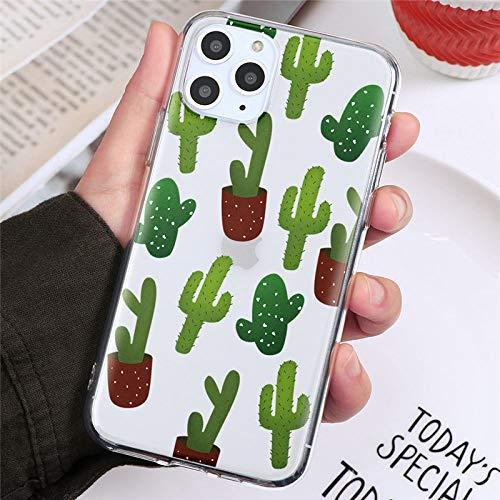 EWUEJNK Carcasa De iPhone,Transparente Multi Cactuscute Cactus Caramelo Color Mate Teléfono Funda para iPhone 11 Pro XR XS MAX 7 8 6 6S Plus Se 2020 Soft TPU Back Cover Luxury, iPhone 6S Plus