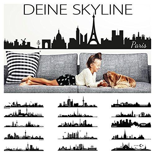 Wandora Wandtattoo Skyline Frankfurt I schwarz (BxH) 100 x 24 cm I Wohnzimmer selbstklebend Sticker Aufkleber Stadt Städte der Welt Wandsticker Wandaufkleber W1366