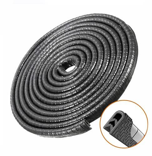 Protector de Puerta de Coche U Forma Coche Puerta Sello Protección de Borde Anti Choques Traje para la mayoría del coche Negro-4m