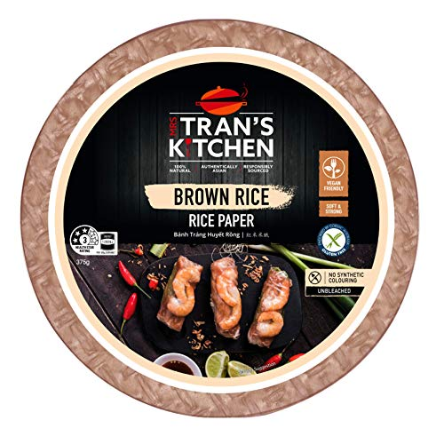 Mrs Tran's Kitchen Spring Roll Rice Paper Wrappers, Shirmp Roll, BAnh Trang Cao, Round 9 Inch, 30 Servings Per Pak (Brown Rice)