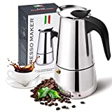 Stovetop Espresso Maker with Stainless Steel, Moka Pot,Easy to Operate & Quick Cleanup Pot,Classic...