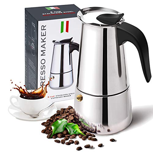 Stovetop Espresso Maker with Stainless Steel, Moka Pot,Easy to Operate & Quick Cleanup Pot,Classic Italian Coffee Maker Express Moka Pot,Suitable for Induction Cookers-6cup