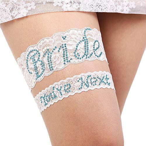 Bridal Garter Large – Garters for Bride – Garter Blue Set – Lace bridal Garter Set – Plus Size Garter Wedding