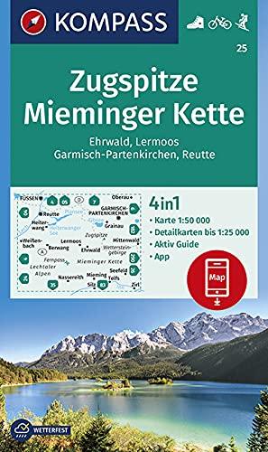 KOMPASS Wanderkarte Zugspitze, Mieminger Kette, Ehrwald, Lermoos, Garmisch-Partenkirchen, Reutte: 4in1 Wanderkarte 1:50000 mit Aktiv Guide und ... Skitouren. (KOMPASS-Wanderkarten, Band 25)