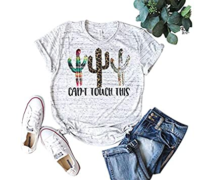 Women Can't Touch This Cactus Funny Graphic T-Shirts Short Sleeve O-Neck Summer Baseball Tops