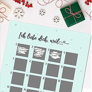"""Adventskalender zum Rubbeln""""ICH LIEBE DICH, WEIL"""" A3 Weihnachtskalender"""