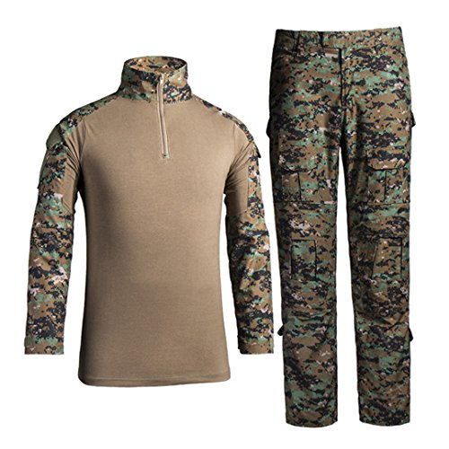 HJLYQXQ Men's Military Tactical Shirt and Pants Multicam Army Camo Hunting Airsoft Paintball BDU Combat Uniform Dry Quick Digital Jungle Large