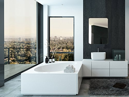 Hamilton Hills Contemporary Brushed Metal Wall Mirror | Glass Panel Black Framed Rounded Corner Deep Set Design | Mirrored Rectangle Hangs Horizontal or Vertical (22