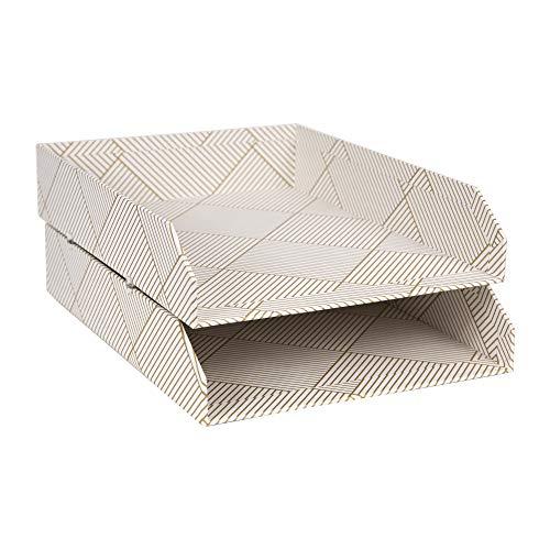 Bigso Box of Sweden 2er-Set Briefablage für den Schreibtisch – stapelbare Ablagefächer für Briefe, Dokumente usw, – Ordnungssystem aus Faserplatte mit Papier– Gold/weiß