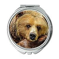 ミラー、コンパクトミラー、動物の熊毛、ポケットミラー、ポータブルミラー