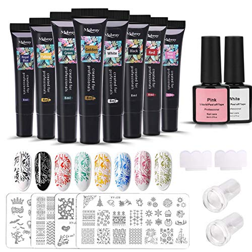 MY SWEETY 8 COLOR Nail Stamping Kit,DIY Nail Art Nail Stamping Nail Gel UV Stamping Gel met 4 Sstencils, 2 Schrapers, 2 Siliconen Stempels voor Nail Stamping Starter