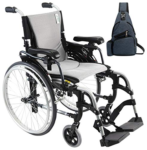Karman S-Ergo 305 Ultra Lightweight Ergonomic Wheelchairs S-Ergo305Q18SS,Quick Release Wheels,Swing Away Removable Standard Legrests 18'W X 17'D Seat, Frame Silver & FREE Medical Utility Bag Navy Blue