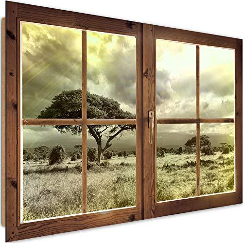 Cuadro Imagen XXL Ventana Falsa Impresión de Arte Naturaleza Marrón 120x80 cm
