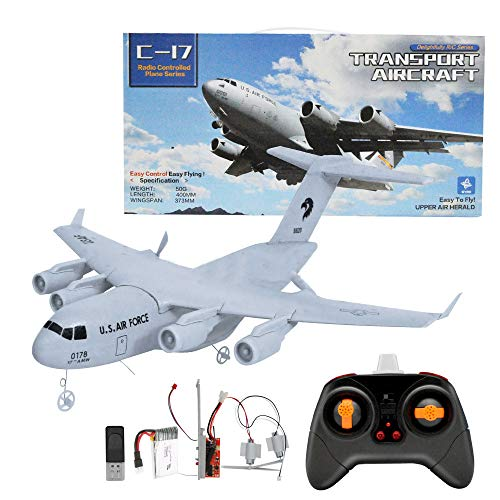 Weaston Avión RC Recargable de 2.4G con Luces, Avión de Control Remoto Deslizante de ala Fija, Avión de Transporte RC Grande, Apto para Principiantes en Modelos de avión, Regalos de Juguete
