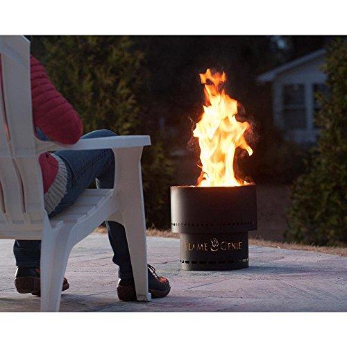 "HY-C FG-16 Flame Genie Portable Smoke-Free Wood Pellet Fire Pit, USA Made, 13.5"" Diameter, Black"