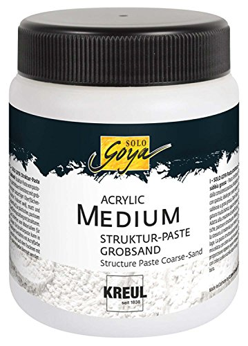 Kreul 85605 - Solo Goya Acrylic Medium, weiß, 250 ml Dose, Strukturpaste Grobsand, pastose Spachtelmasse, mit grobkörniger sandartiger Oberflächenstruktur, einfärb- und übermalbar
