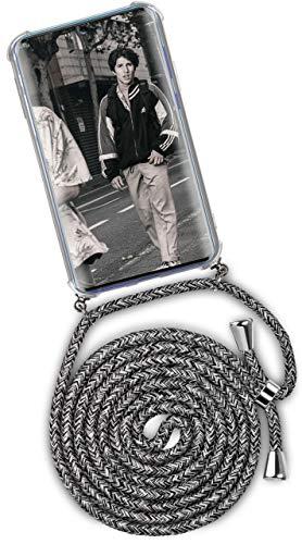 ONEFLOW Handykette kompatibel mit Samsung Galaxy A71 - Handyhülle mit Band zum Umhängen Hülle Abnehmbar Smartphone Necklace - Hülle mit Kette, Schwarz Grau Weiß