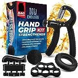 Grip Strength Trainer Kit (5 Piece Set), Adjustable Hand Grip Exerciser Strengthener, Hand Strengthener, Forearm Strengthener, Hand Squeezer Grip Strength, Strength Training Hand Strengtheners