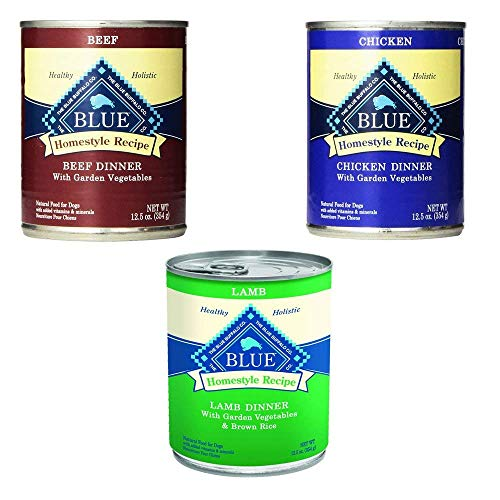 Blue Buffalo Homestyle Recipe Canned Dog Food Pack 12.5 oz x 12 cans - Lamb Dinner, Chicken Dinner and Beef Dinner
