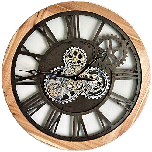 ImprovingLife 24'' Inch Real Moving Gear Wall Clock Vintage Industrial Oversized Rustic Farmhouse (Natural Wood)