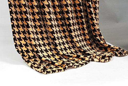 Feinste Mikrofaserdecke Kuscheldecke Tagesdecke, extra dick mit Silk/Cashmere Touch, ca. 150 x 200 cm, braun/beige kariert