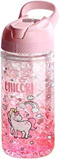 Unicorn Water Bottles for Girls,Cup with Straw and Safety Lock,Pink Outdoor Indoor Water Bottle,400ML/13.5oz for school ki...