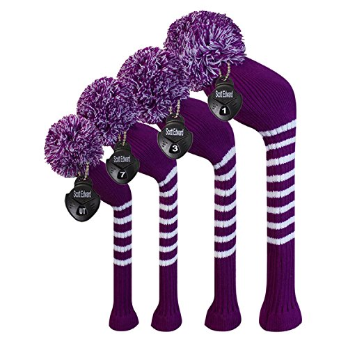 Scott Edward Multi-Style Optional Individualized Knit Golf Club Head Covers Set of 4, Fit for Driver Wood(460cc) 1, Fairway Wood 2, and Hybrid(UT) 1, for Male/Female Golfers (Purple)