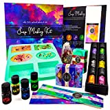 Soap Making Kit for Adults, Make Your Own Soap with Melt and Pour diy Natural Soap Making supplies; 6 Essential Oils, Silicone Soap Mold, Dried Flowers, 2lbs. Shea Butter Soap Base, 4 Colors, 9 Labels