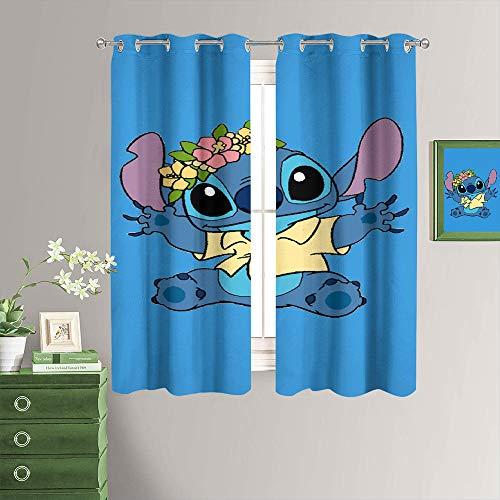 MRFSY Lindas cortinas opacas para ventana de Lilo & Stitch para habitación de niñas, de microfibra, ahorro de energía, con aislamiento térmico, cortinas opacas para dormitorio de 182 x 153 cm