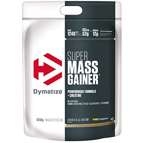 Dymatize Super Mass Gainer Cookies&Cream 5,2kg - Weight-Gainer Pulver + Kohlenhydrate, BCAAs und Casein
