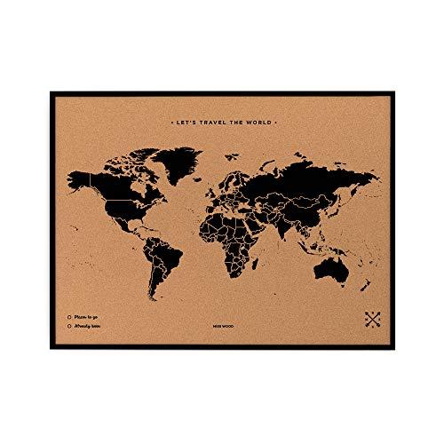 Miss Wood Map L Mapa del Mundo de Corcho con Marco, Negro, 48 x 63 cm