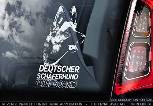 Sticker International Deutscher Schäferhund - Autoaufkleber - Hund Schild Fenster, Stoßstange Aufkleber Geschenk - V001 - Weiß/Klar - Externe Außen Aufdruck, 205x100mm