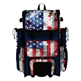 Boombah Superpack Hybrid Rolling Bat Bag - USA Old Glory Navy/Red/White - Wheeled & Backpack Version