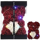 Oso de Rosas Flores Artificiales Oso Peluche - Regalos Mujer Regalo Mujer cumpleaños Regalos para Madres Regalos para Mama Regalo para Novia Peluche Rosa Aniversario Despedidas Soltera (borgoña)