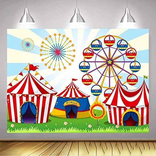 Fondos fotográficos Fondo de Circo Azul Cielo decoración de Fiesta de cumpleaños de niño baño de bebé recién Nacido Fondo Personalizado Estudio fotográfico 150x210CM