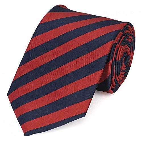 Fabio Farini - Elegante cravatta da uomo a strisce in 8cm di larghezza in diversi colori per ogni occasione come matrimonio, cresima, ballo di fine anno Rosso scuro Blu scuro