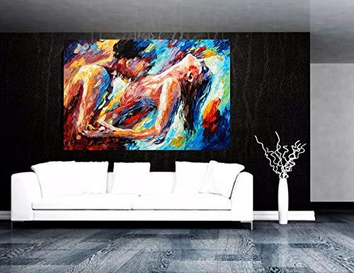 LLXXD Nordische Malerei Frau und Mann Abstrakte Körperkunst Graffiti Ölgemälde Leinwanddruck für Schlafzimmer Hotel Wanddekoration-50x70cm (kein Rahmen)