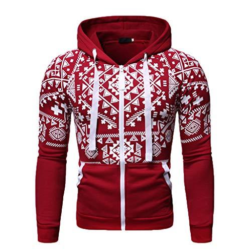 DNOQN Pullover Herren Sale Sweatshirt Günstig Herbst Winter Langarm Drucken Tasche Kapuzenpulli Pullover Mantel Top Rot L