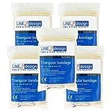 LINE2design Triangular Bandage First Aid Bandage Fracture Fixation Emergency 5Pk