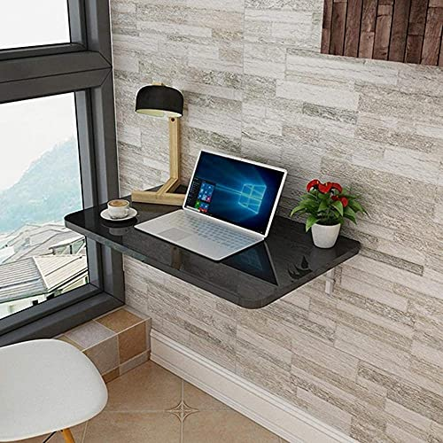 Mesa plegable de pared para cocina, mesa de comedor plegable, mesa de comedor flotante para estudio/dormitorio (60 x 50 cm), 60 x 50 cm, color negro