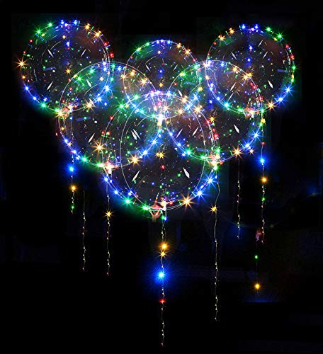 10 Pack Led Bobo Balloons, Zodight Transparent LED Light Up Balloons, Helium Glow Bubble Balloons with String Lights for Party Birthday Wedding Festival Decorations (Colorful)