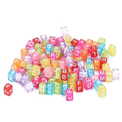 AILANDA 1000pcs Buchstaben Perlen Acryl Würfelperlen Alphabet Beads Spacer Perlen Acrylperlen zum Auffädeln Kunststoff Perlen Alphabe Perlen für Kinder Armbänder Halsketten Schmuckherstellung