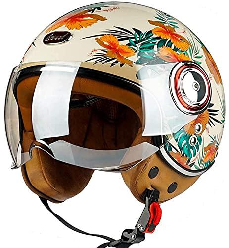 MOMOJA Casco De Motocicleta Vintage De Cara Abierta con Gafas Protectoras, Diseño Retro 3/4, Certificado ECE, Casco De Jet Ligero para Motocicleta, Scooter, Ciclomotor, Crucero C,XL(59-60cm)