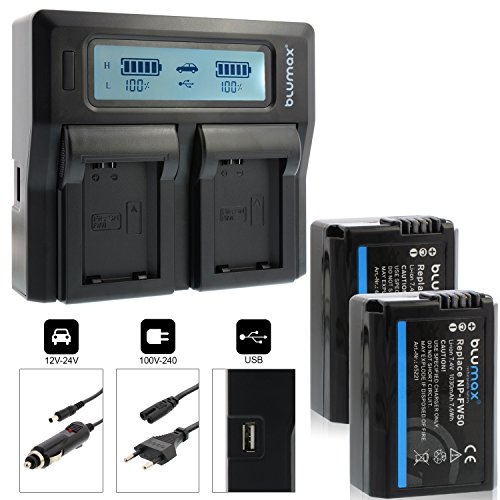 Blumax 2X Akku ersetzt Sony NP-FW50 1030mAh + Doppel-Ladegerät Dual | kompatibel mit Sony Alpha7 / 7ii / 6500/6300 / 6000/5100 NEX-7 NEX-6 NEX-F3 NEX-3 Nex-5 NEX-5N NEX-5T SLT A55V A33 A35 A37