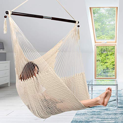 Large Caribbean Hammock Hanging Chair, Durable Polyester Hanging Chair, Swing Chair w/Foldable Spreader Bar for Indoor/Outdoor Garden & Living Room - Light Brown