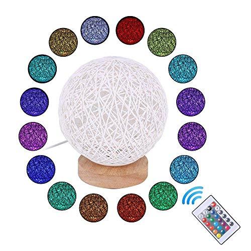 Lampada da tavolo in legno, 16 Colori Led Lampada da comodino decorativa in legno, lampada da notte a LED con Telecomando per camera da letto, soggiorno, sala caffè, cameretta
