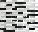 Peel and Impress - Easy DIY Peel and Stick Adhesive Backsplash Tiles, 24050 Midnight Marble Dream, Oblong, 11' x 9.25' (4 Tiles)